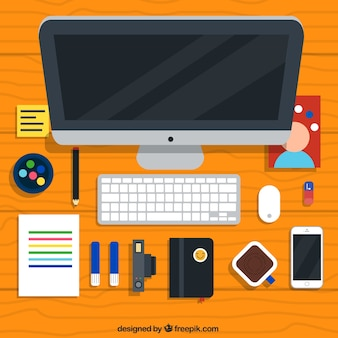 Flat desk elements collection