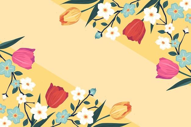 Sfondo colorato piatto dettagliato primavera