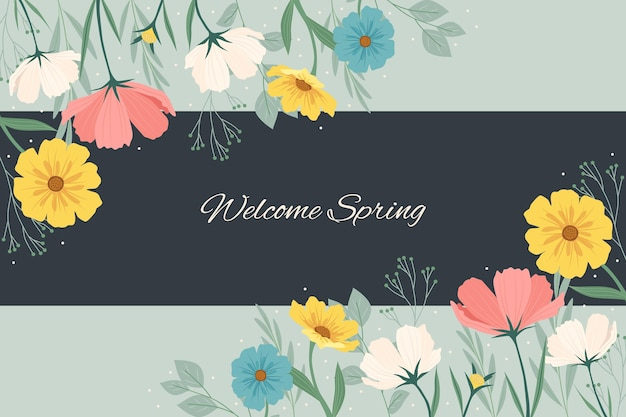 Flat detailed colorful spring background