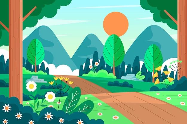 Плоский подробный прекрасный весенний пейзаж