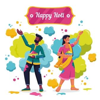 ホーリー祭のイラストを祝うフラット詳細な人々