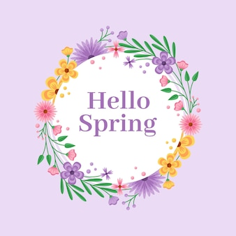 Flat detailed spring floral frame