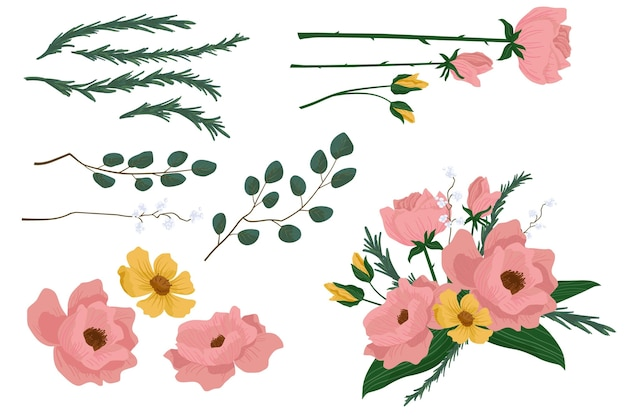 Flat detailed spring flower collection