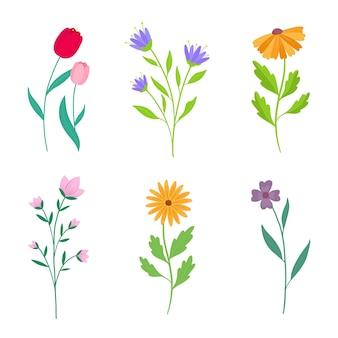 フラット詳細春の花セットコレクション