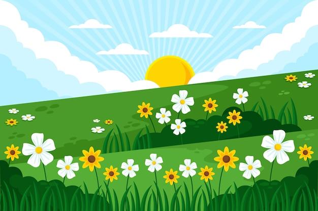 Плоский подробный весенний пейзаж