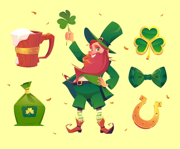 Flat detailed st. patrick's day elements