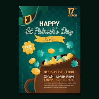 Flat detailed st. patrick's day poster template