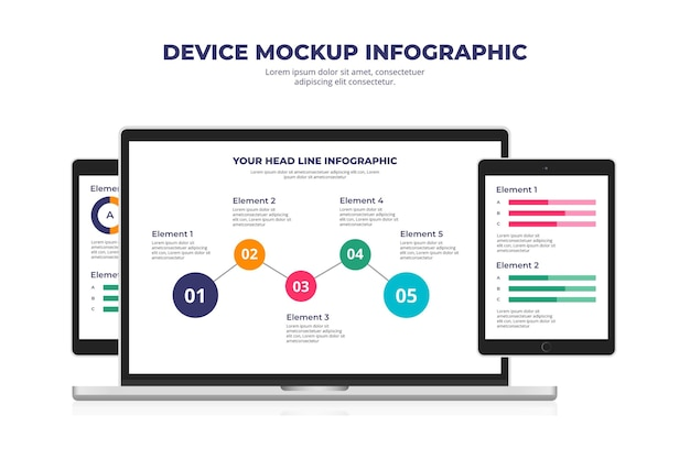 Flat device mock-up infographic