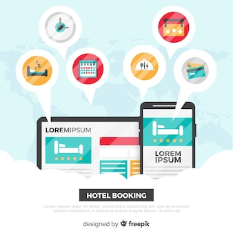Flat devices hotel booking background