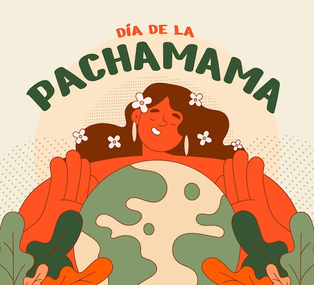 Плоская иллюстрация диа де ла пачамама