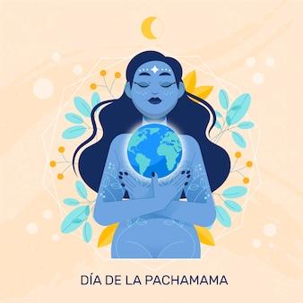 Flat dia de la pachamama illustration