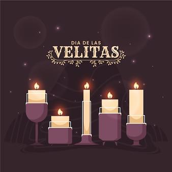 Иллюстрация плоских свечей dia de las velitas