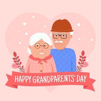 조부모와 함께 평면 dia de los abuelos 그림