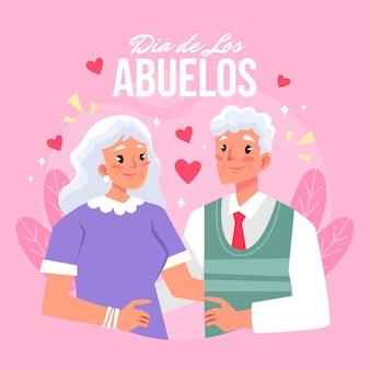 Плоская иллюстрация диа-де-лос-абуелос