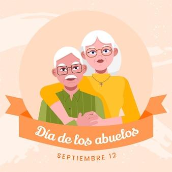 Flat dia de los abuelos illustration