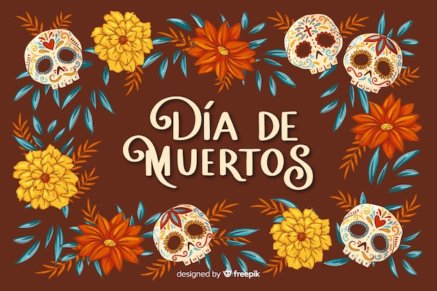 Flat día de muertos background and skull with flowers