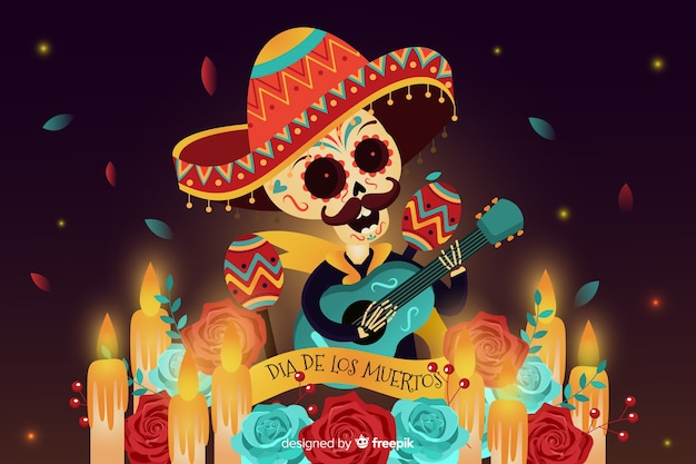 Flat día de muertos background and skull with guitar
