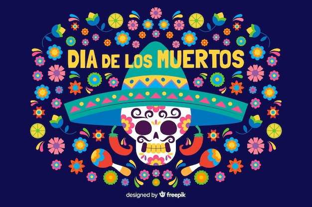 Flat día de muertos background and skull with sombrero