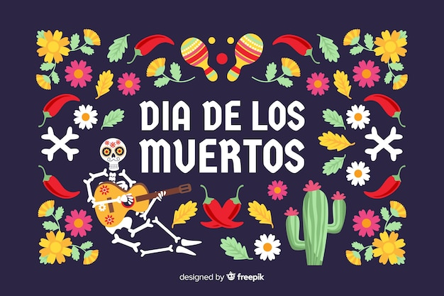 Flat día de muertos background with cacti and flowers