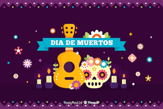 Flat día de muertos background with guitar and skull