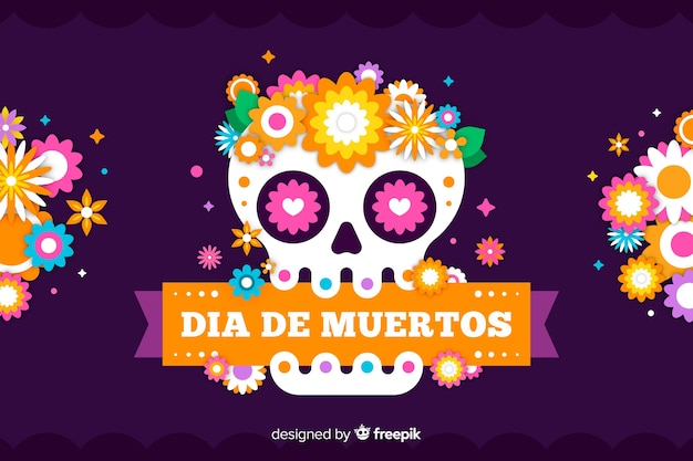 Flat día de muertos background with skull and ribbon