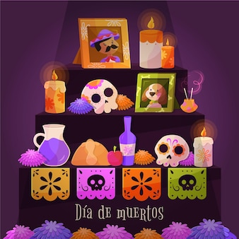 Flat día de muertos background
