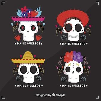 Flat dia de muertos badge collection