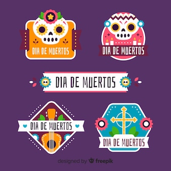 Flat día de muertos badge collection