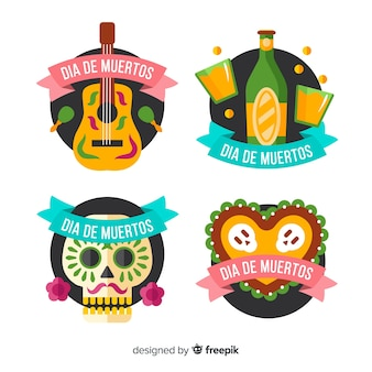 Flat día de muertos badges with ribbon collection