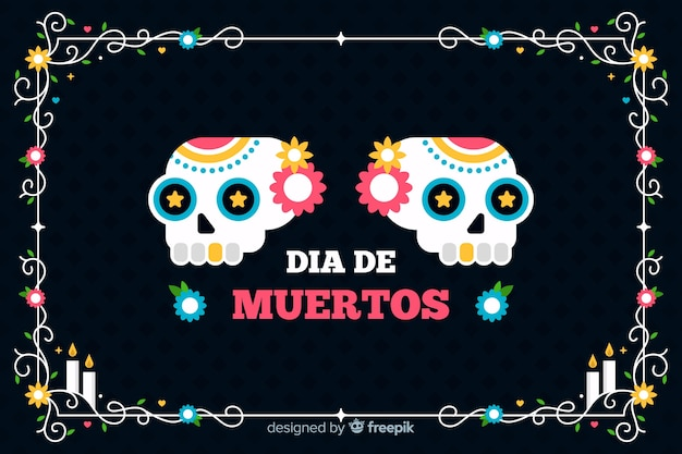 Flat día de muertos black background and skulls