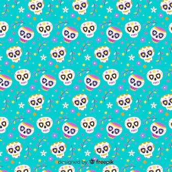 Flat día de muertos blue pattern