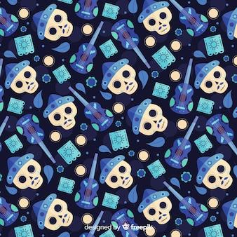 Flat día de muertos blue seamless pattern