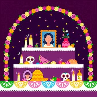 Flat dia demuertos家族の家の祭壇のイラスト