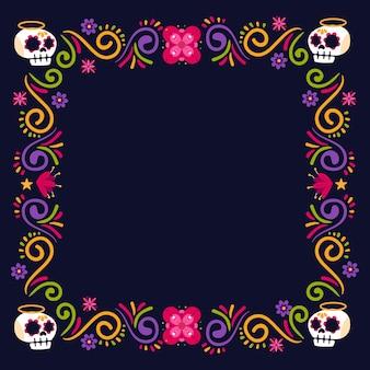 Flat dia de muertos frame template