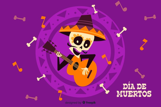 Flat día de muertos and guitar background