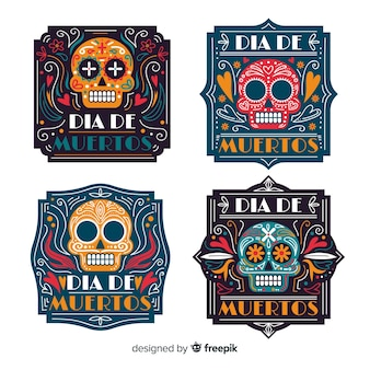 Flat día de muertos label collection