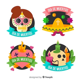 Flat día de muertos labels with ribbon collection