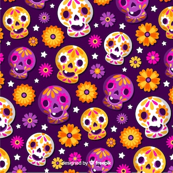 Flat día de muertos pattern with happy baby skulls