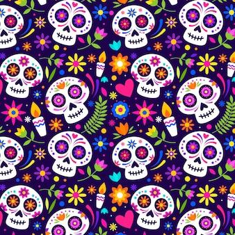 Flat día de muertos pattern