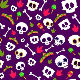 Коллекция плоских узоров dia de muertos