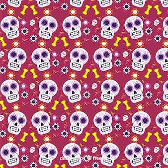 Flat día de muertos red with skulls pattern