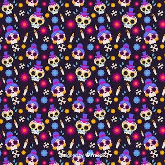 Flat día de muertos seamless pattern
