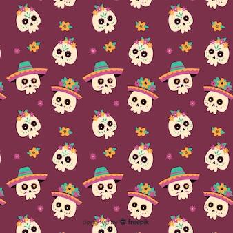 Flat día de muertos seamless skull pattern