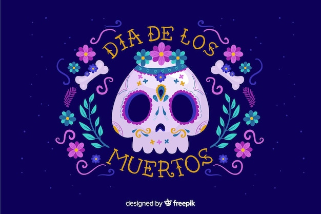 Flat día de muertos skull background