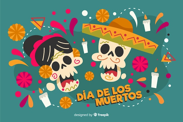 Flat día de muertos skull couple background