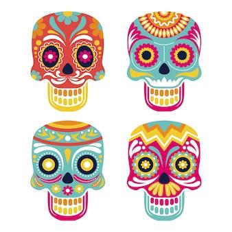 Плоская коллекция черепов dia de muertos