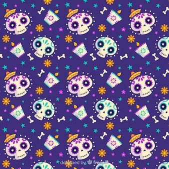 Flat día de muertos and smiley skulls pattern