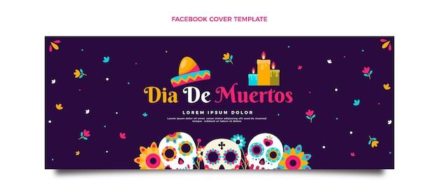 Modello di copertina per social media piatto dia de muertos