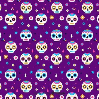 Flat día de muertos violet pattern