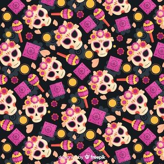 Flat día de muertos violet seamless pattern